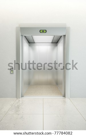 modern elevator with open doors - stock photo