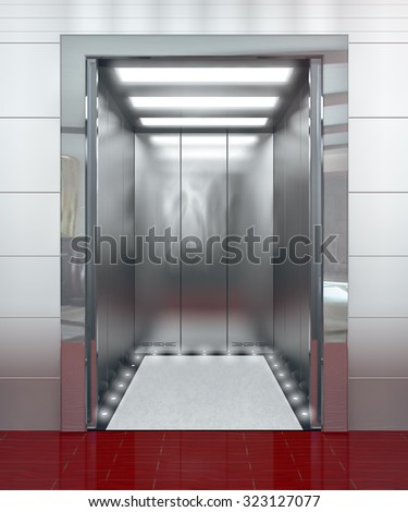 Modern elevator with opened door - 3d illustration - stock photo