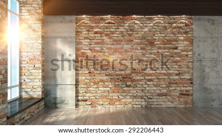Modern empty interior in the loft style 3D rendering - stock photo