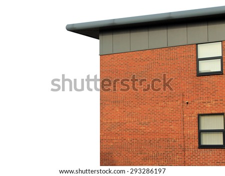 Modern empty office building on a white background with copy space. - stock photo