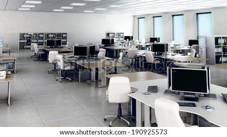 Modern empty office interior - stock photo
