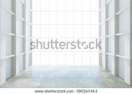 Modern empty room with big window, white walls and concrete floor 3D Render - stock photo