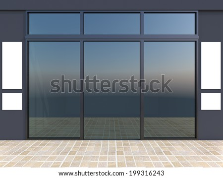 Modern empty shop window with signboard, bluel store - stock photo