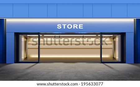 modern empty store on street of city at night time - stock photo