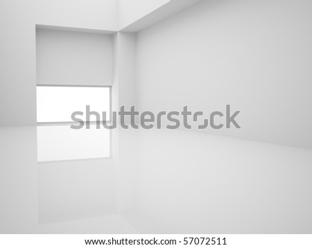 Modern empty white interior with window on floor - stock photo