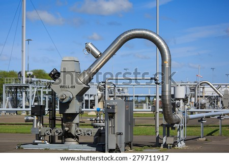 Modern equipment at a natural gas processing site in Groningen, Holland. - stock photo