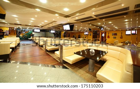 modern european restaurant with nice and bright interior - stock photo