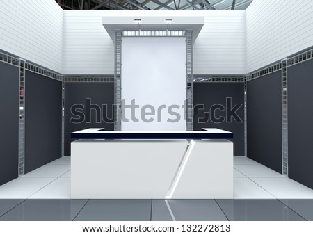 Modern exhibition stand design with reception counter and blank banner - stock photo