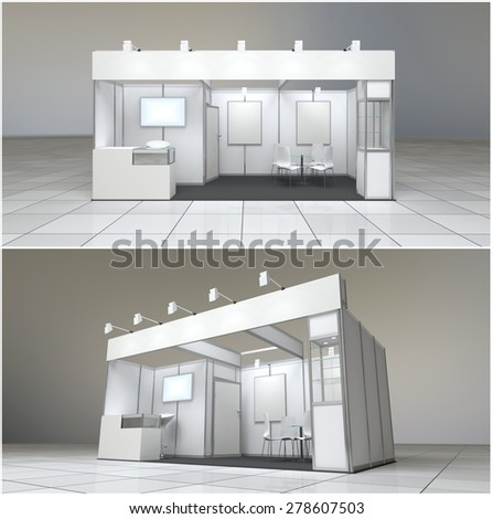 modern exhibition stand 18sq.m. with blank frieze and blank posters - stock photo