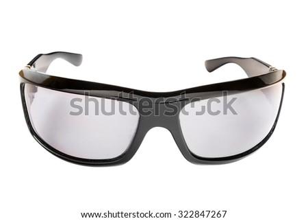 Modern eyeglasses isolated on white. - stock photo