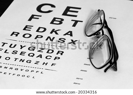 modern eyeglasses resting on eyechart with frame closed finished in black and white - stock photo