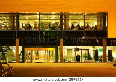 modern facade at evening - stock photo