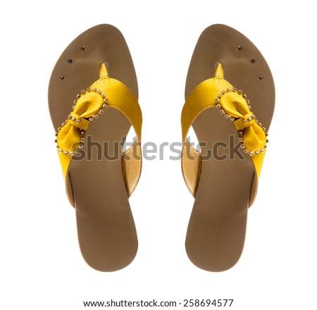 Modern fashionable women flip-flop shoe shot in studio - stock photo