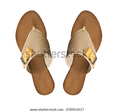 Modern fashionable women flip-flop shoe shot in studio - stock photo
