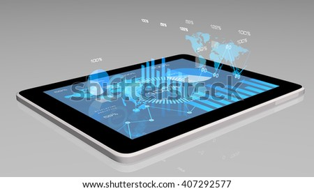 Modern financial instruments (graphs, charts and Earth globe) on a tablet screen. 3d rendering. - stock photo
