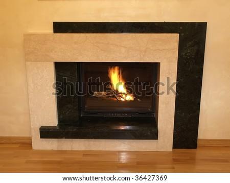 modern fireplace - stock photo
