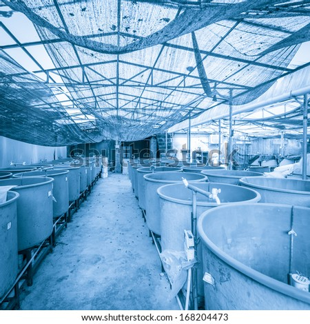 modern fish farm - stock photo