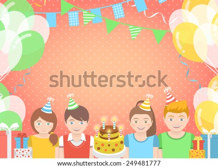 Modern flat colorful birthday party background with group of kids in festive caps and balloons, garlands, flags, streamers, gifts. Holiday illustration. Birthday greeting or invitation card - stock photo