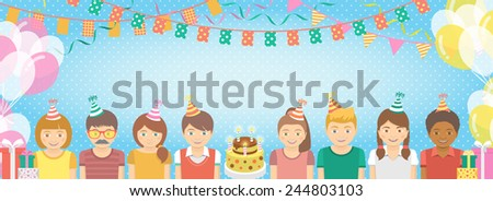 Modern flat colorful birthday party banner with group of kids in festive caps and balloons, garlands, flags, streamers, gifts. Holiday horizontal background with copy space for text. - stock photo
