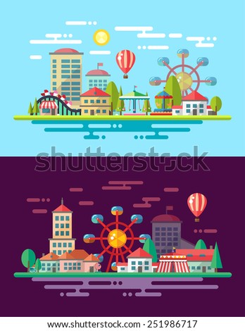 Modern flat design conceptual city illustration with carousels - stock photo