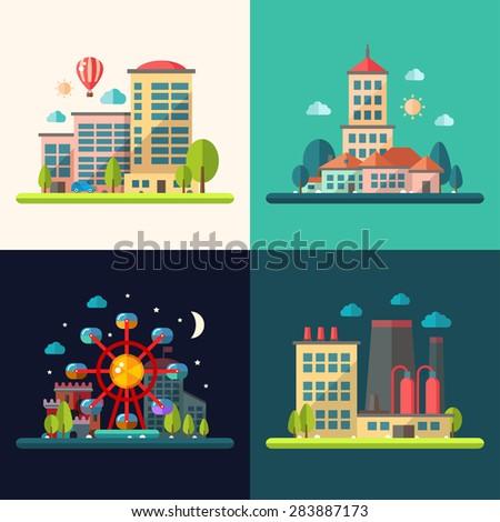 Modern flat design conceptual city illustrations - stock photo