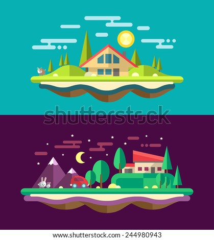 Modern flat design conceptual landscape illustrations with buildings - stock photo