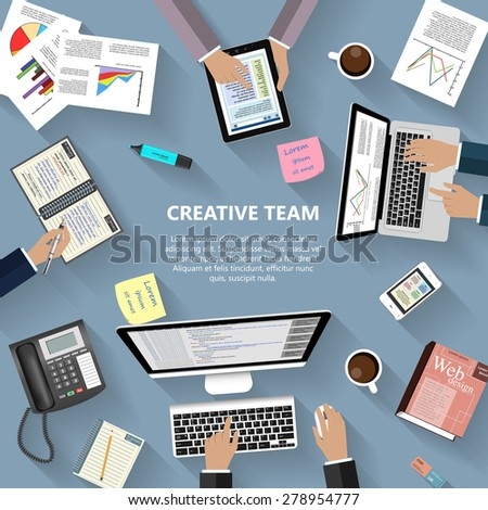 Modern flat design creative team concept for e-business, web sites, mobile applications, banners, corporate brochures, book covers, layouts etc. Raster copy of vector illustration - stock photo
