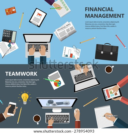 Modern flat design financial management and teamwork concept  for e-business, web sites, mobile applications, banners, corporate brochures, book covers, layouts etc. Raster illustration - stock photo