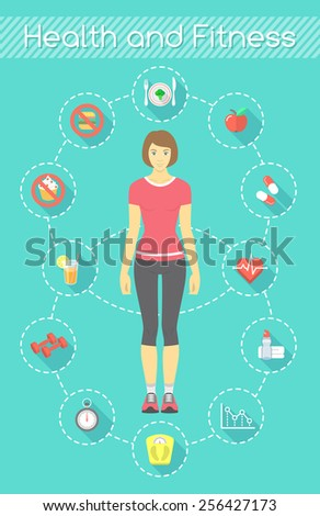 Modern flat fitness infographics element. Slim girl in sportswear with conceptual icons of shaping and healthy life - stock photo