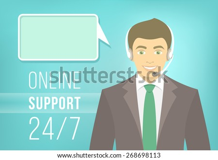 Modern flat illustration of young handsome man, employee of call center support and help service with headphones and speech bubble for chat with visitors of web site. Help desk online concept - stock photo