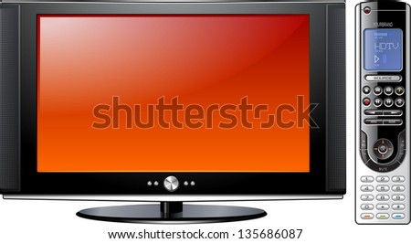 Modern Flat Plasma LCD LED TV with Remote Control, detailed isolated illustration - stock photo