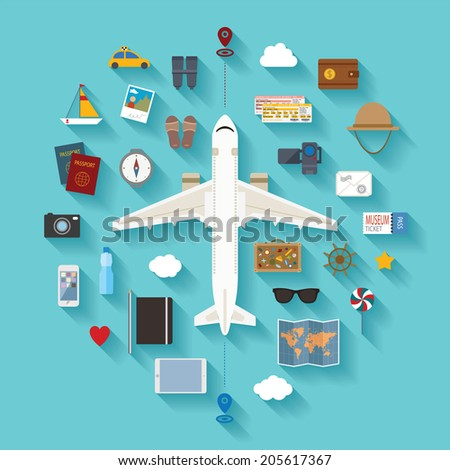 Modern flat style icons set for tourism industry, travelling on airplane, planning summer vacations. Rasterized version. - stock photo