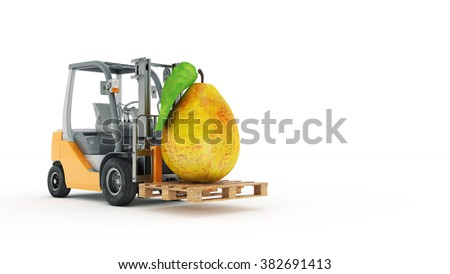 Modern forklift truck with pear - stock photo