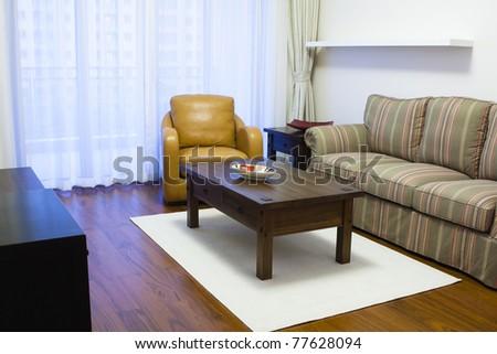 modern furnished apartment/home interior, shanghai, china - stock photo