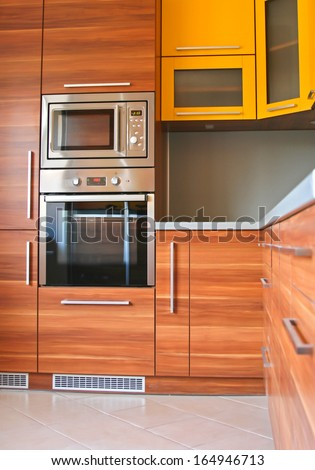 Modern furniture in the kitchen - stock photo