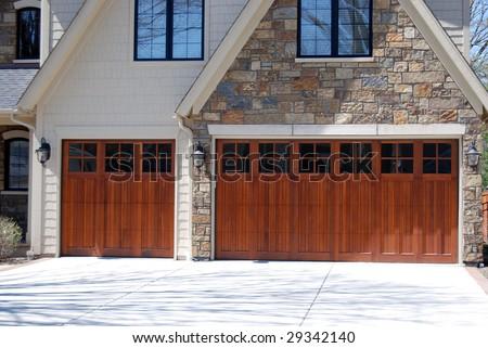 modern garage doors - stock photo
