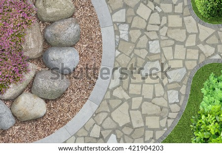 modern garden architecture in top view - stock photo