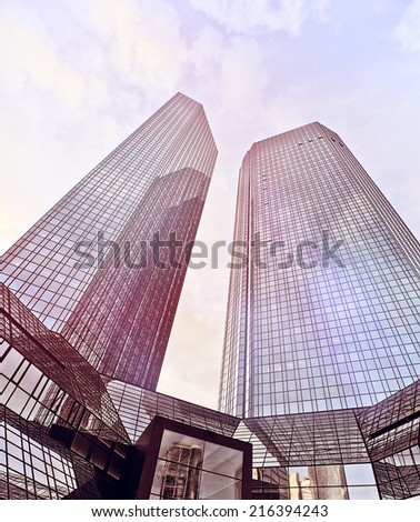 modern glass and steel office towers in Frankfurt am Main, Germany - stock photo