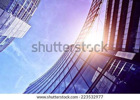 modern glass and steel office towers near Potsdamer Platz, Berlin, Germany - stock photo