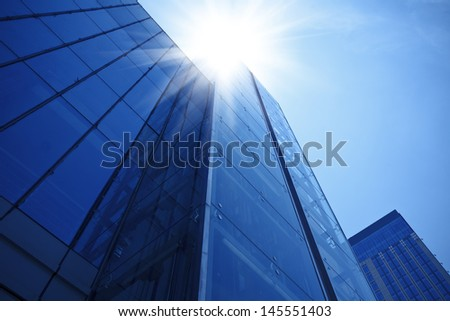 Modern glass building exterior - stock photo