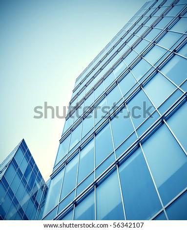 modern glass business center - stock photo