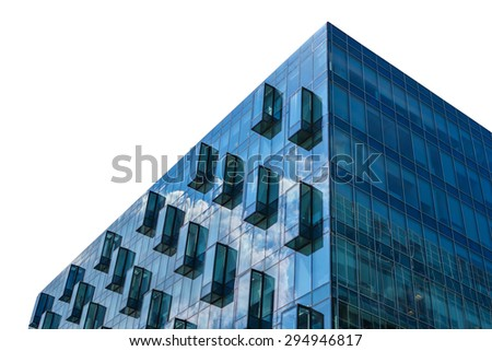 Modern glass office building isolated on white background - stock photo