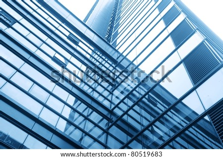 modern glass silhouettes of skyscrapers - stock photo