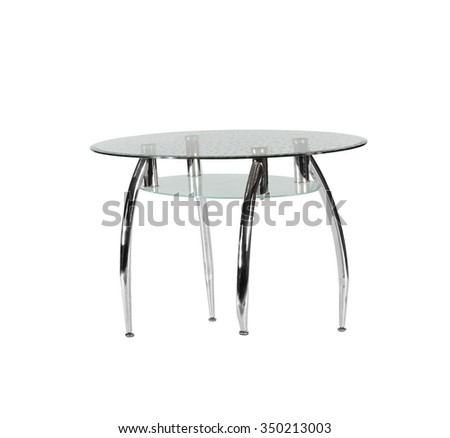 modern glass table isolated on white background - stock photo