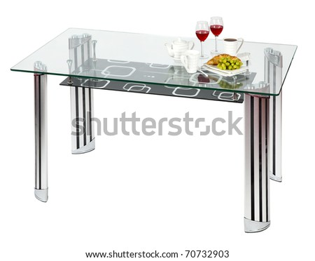Modern glass top dining table - isolated - stock photo