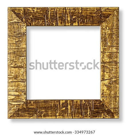 Modern gold picture frame, isolated with clipping path - stock photo