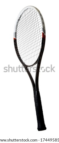Modern graphite tennis racket isolated on white background - stock photo