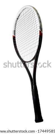 Modern graphite tennis racket isolated on white background - stock photo