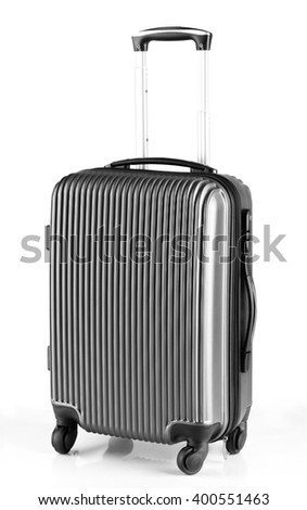 modern gray luggage with three handles and four wheels - stock photo