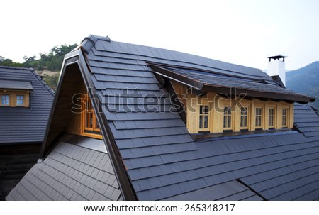 Modern gray roof - stock photo